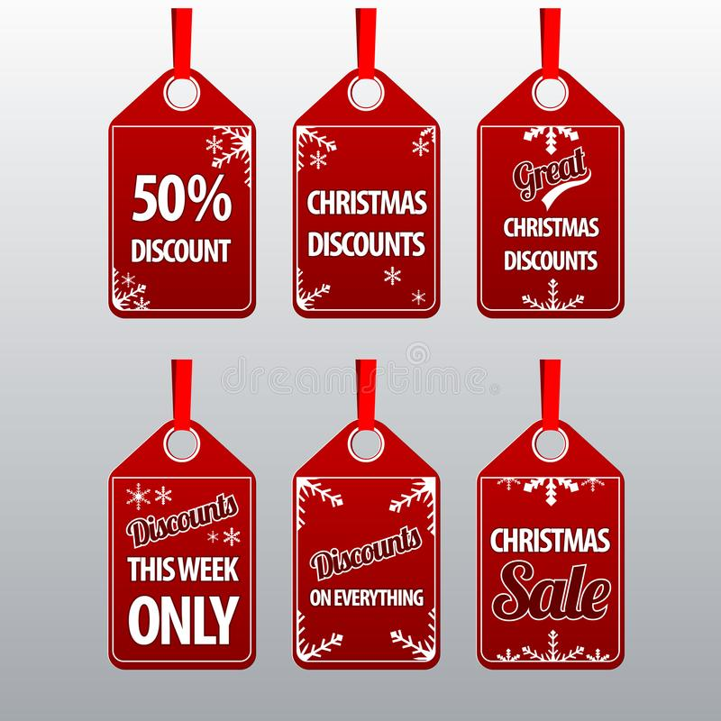 Christmas discount tags set royalty free stock photos
