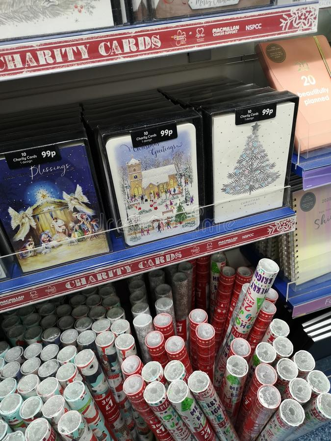 Christmas display of cards and paper royalty free stock photo