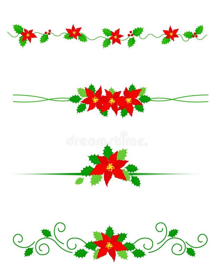 Christmas dividers poinsettia royalty free stock photos