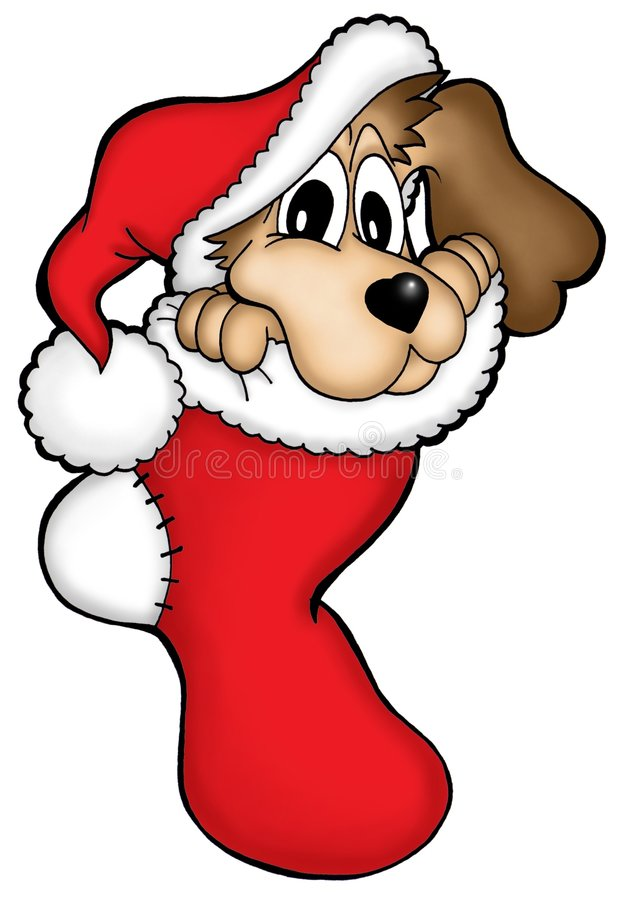 Christmas dog. Color illustration of brown dog in Christmas cap stock illustration