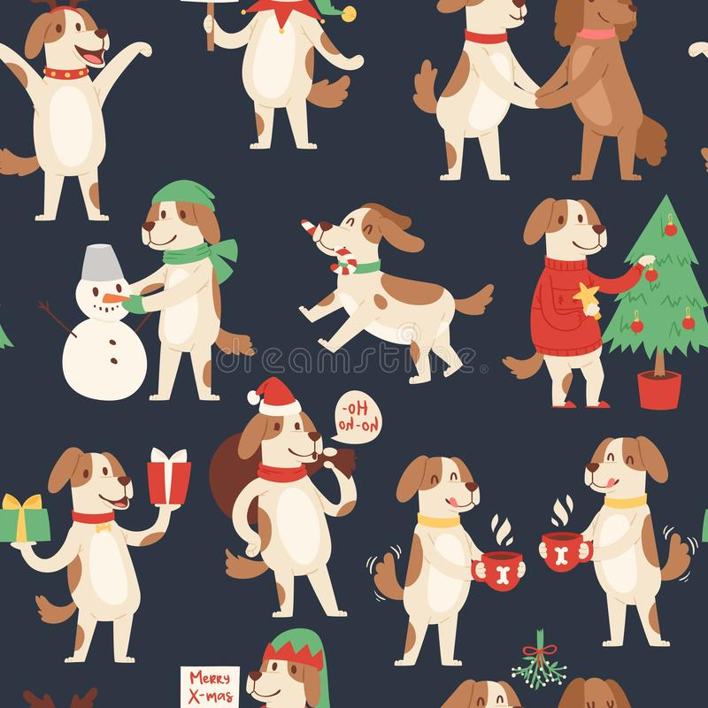 Christmas dog seamless pattern. Vector illustration of cute cartoon dog in red Santa hat and snowman, christmas tree vector illustration
