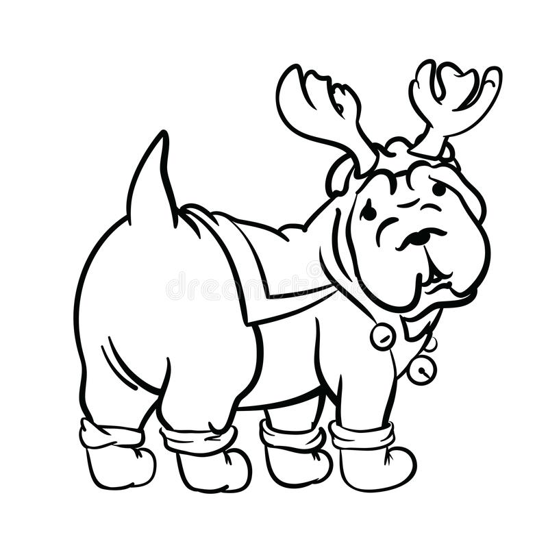 Christmas dog drawn in ink style stock image