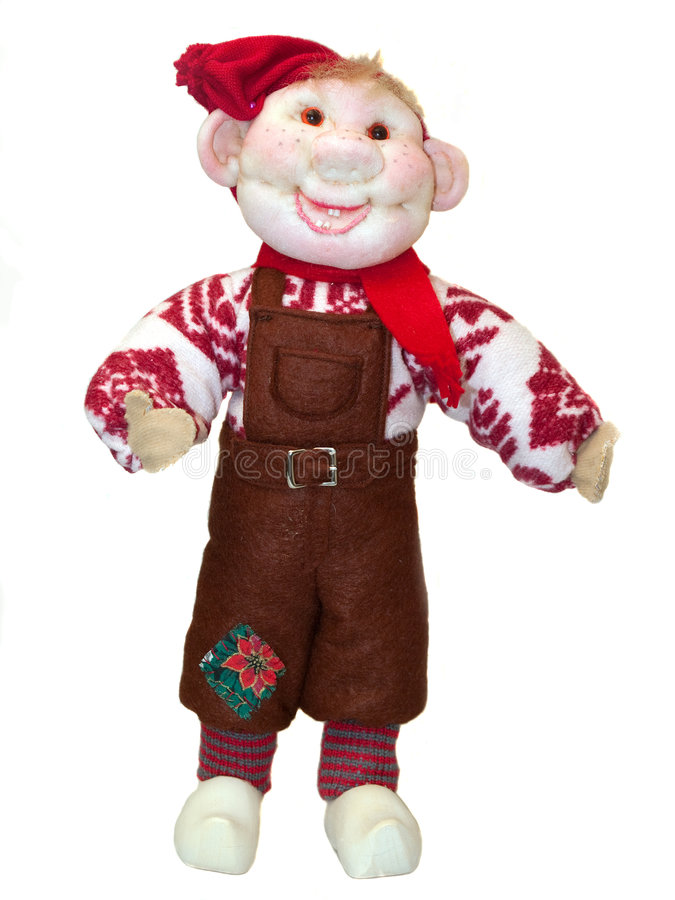 Christmas doll elf figurine isolated on white. Christmas doll elf made of a fabric and a wool isolated on white stock photo