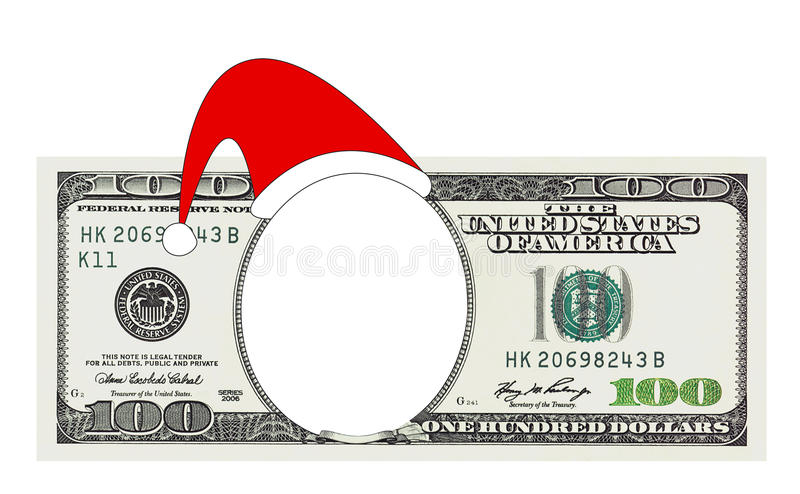 A Christmas 100 dollar bill no face, clipping path royalty free stock photography