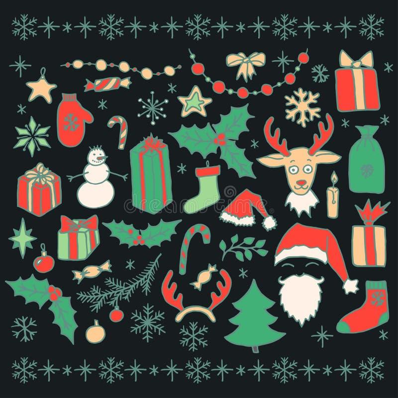 Christmas doodle elements stock illustration