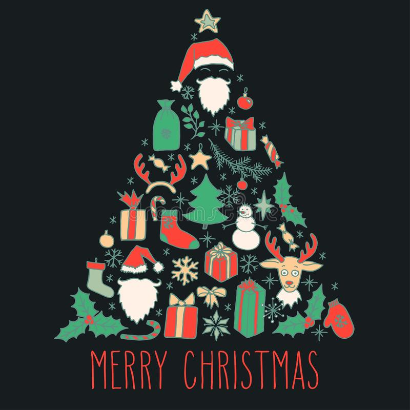 Christmas doodle greeting card stock illustration