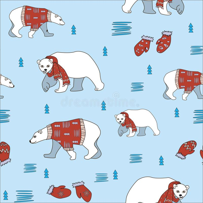 A Christmas doodle seamless pattern with polar bears in sweaters and scarfs and Christmas trees. A vector stock illustration for royalty free illustration