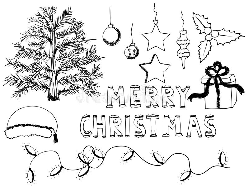 Christmas doodle set. Set of hand drawn christmas elements stock illustration