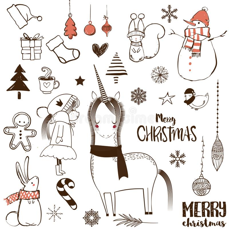 Christmas doodle set. With animals and elements royalty free illustration