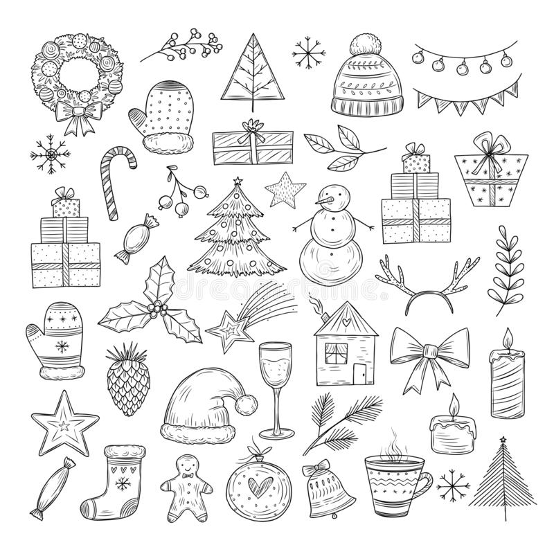 Free Christmas Doodle Set. Sketch Christmas Wreath, Fir-tree And Snowman, Candles. Candies, Santa Hat And Gift Boxes Vector Stock Images - 159243224