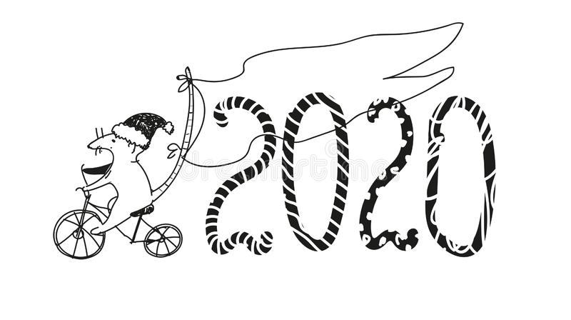 Christmas doodle sketch. Figures 2020 and a mouse on a bicycle, the symbol of the coming year. Hand drawing. New year elements for stock illustration