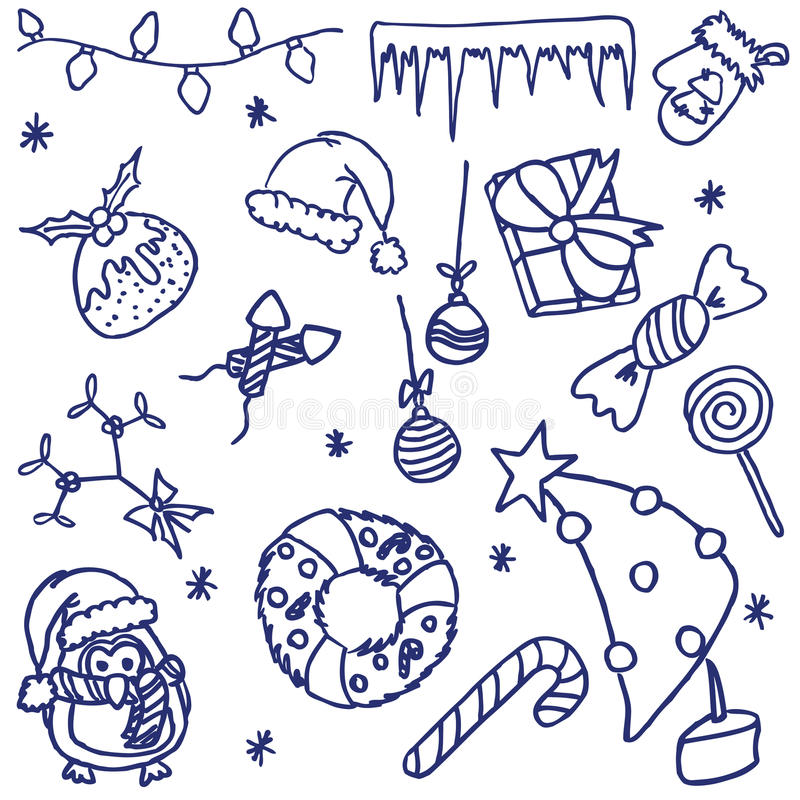 Christmas doodles royalty free illustration