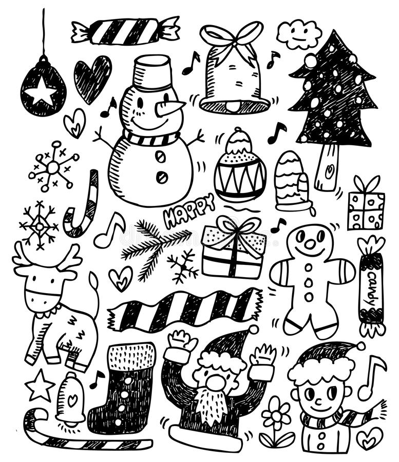 Download Christmas doodles stock vector. Image of decor, holiday - 16574287