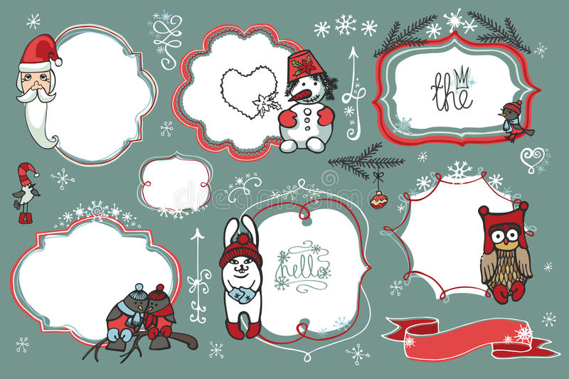 Christmas Doodles.Badges,labels with santa,animal,. Doodles Badges,labels ,frames with santa,winter animals,birds,snowman,snowflakes.Humor Christmas,new year set vector illustration