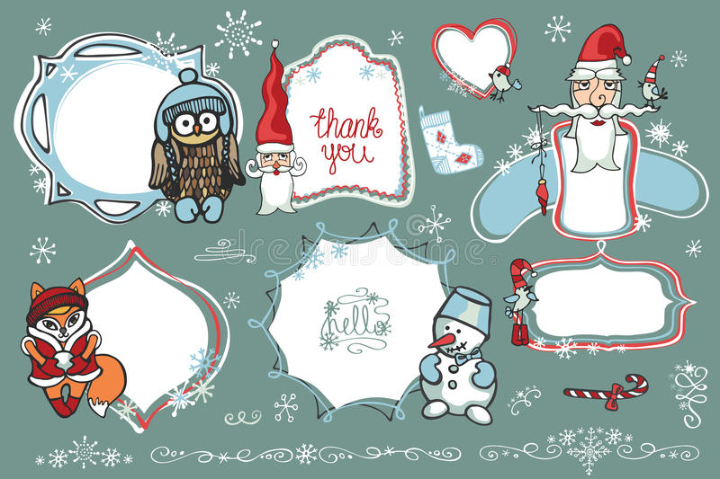 Christmas Doodles.Labels,Badges with santa,animal,. Doodles Badges,labels ,frames with santa faces,winter animals,birds,snowman,snowflakes.Humor Christmas,new royalty free illustration