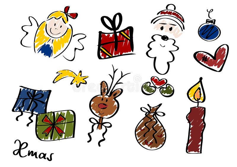 Download Christmas Doodles, Set II stock vector. Image of figure - 3750314