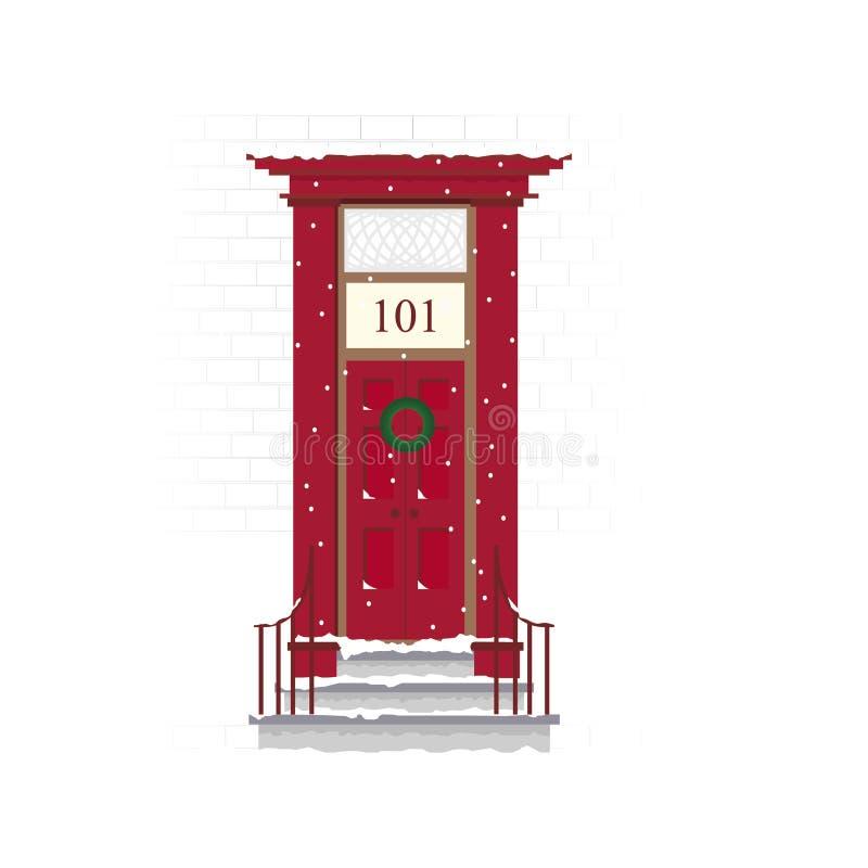 Christmas door scene royalty free illustration