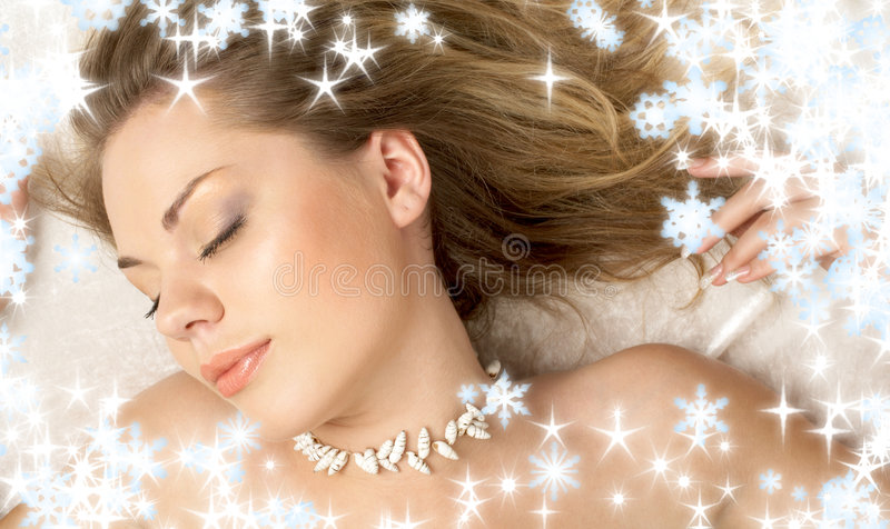 Christmas dream of seashell girl stock photo