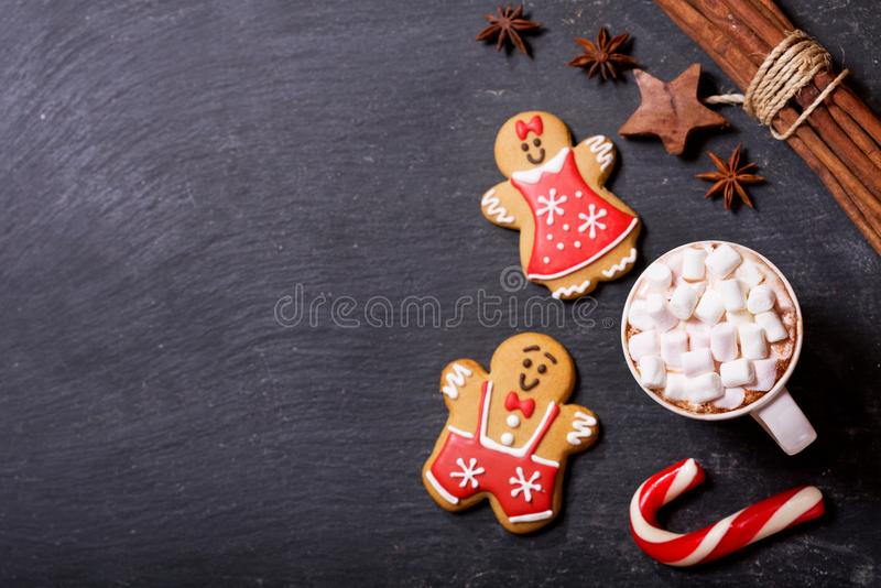 Christmas drink. Cup of hot chocolate with marshmallows, top vie royalty free stock image