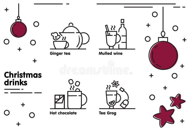 Christmas drinks icons set royalty free stock photo