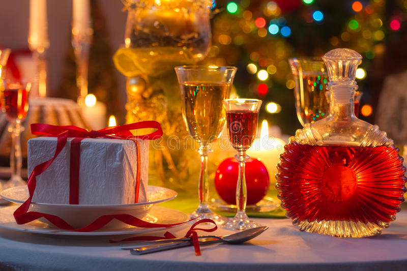 Christmas drinks and presents for long winter nights stock images