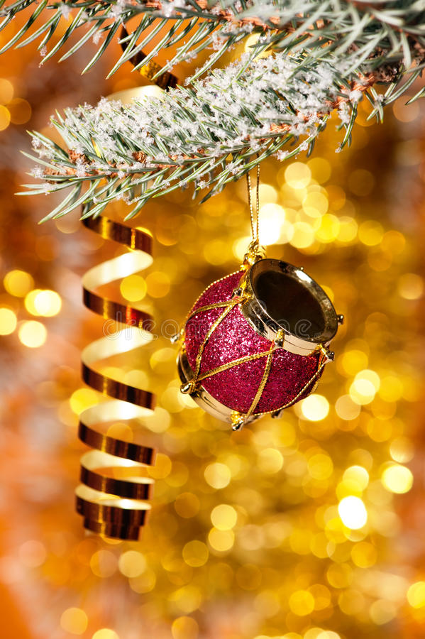 Free Christmas Drum On Fir Tree Branch Stock Photo - 27801750