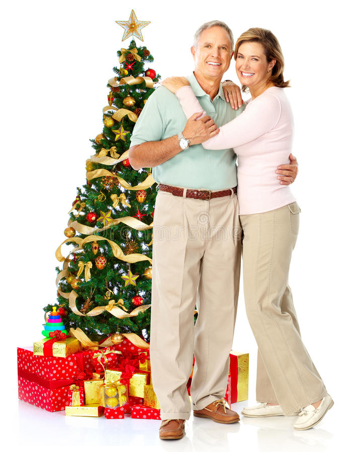 Christmas elderly couple royalty free stock photo