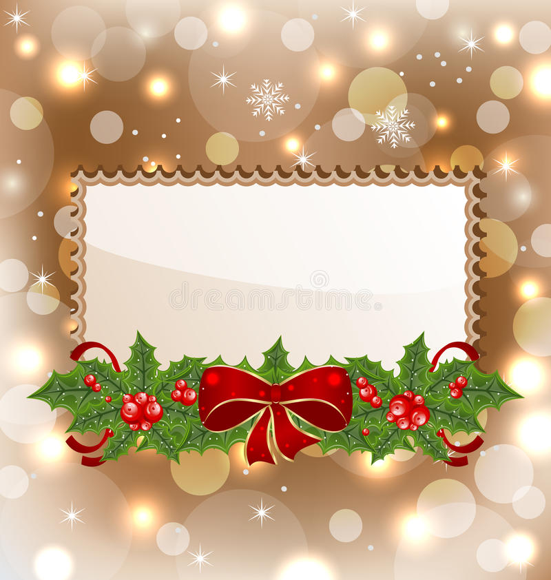 Download Christmas Elegant Card With Mistletoe And Bow Royalty Free Stock Photo - Image: 26618995