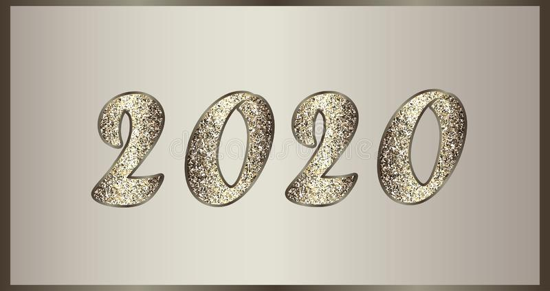 Christmas elegant illustration in golden-brown tones with glitter. Shiny numbers 2020 New Year. royalty free stock photo