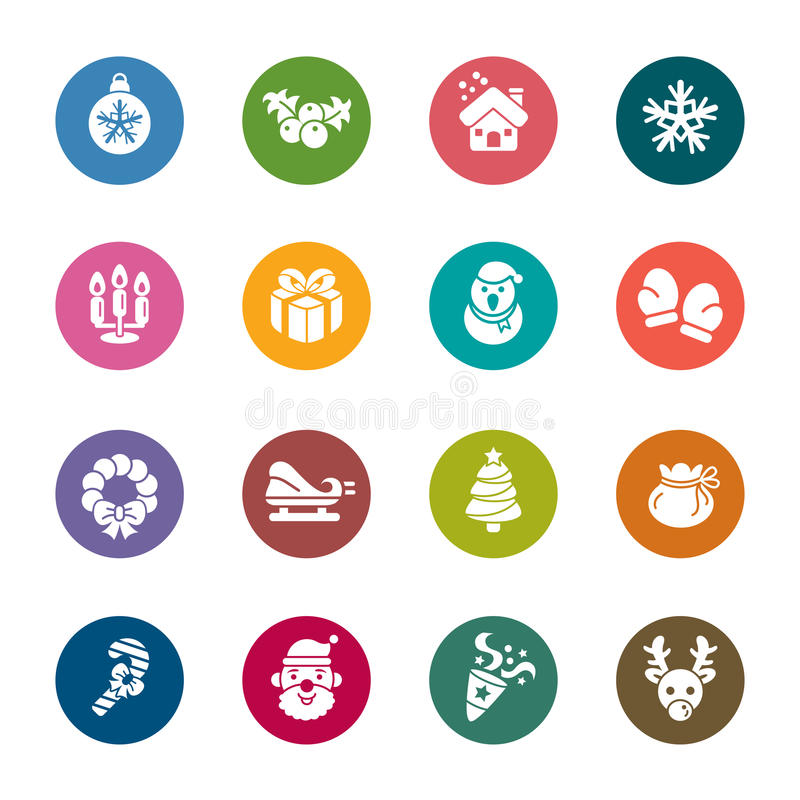 Christmas Element Color Icons. A collection of different kinds of Christmas element color icons. It contains hi-res JPG, PDF and Illustrator 9 files royalty free illustration