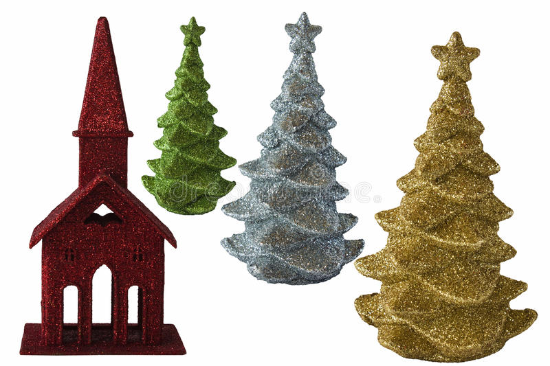Christmas elements with Church and trees. Red Christmas Church and gold, solver, and green Trees with glitter. Isolated on a white background stock photography