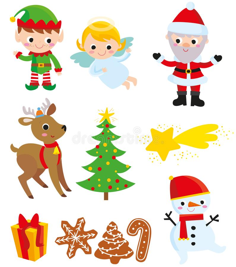 Christmas elements including Santa Claus. Illustration includes nine vector elements: Santa Claus, elf, angel, reindeer, tree, comet, gift, biscuits and snowman stock illustration