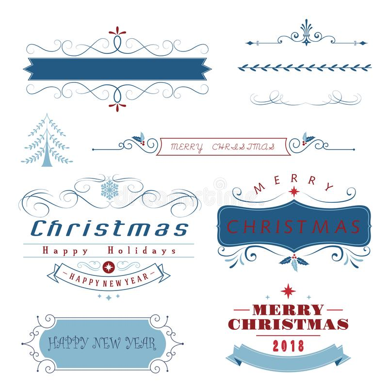 Christmas elements, lace,border and flower wreath stock illustration