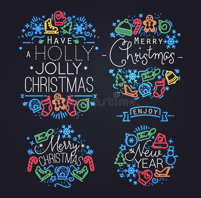Free Christmas Elements Neon Stock Photography - 61571462