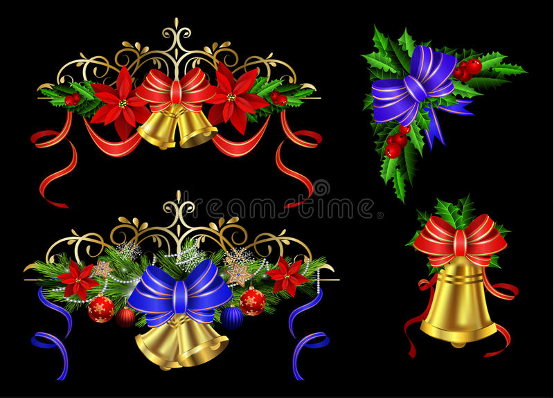 Christmas elements set for your designs. Christmas decoration set with evergreen treess holly and pinecone and poinsettia and ribbon isolated with bells stock illustration