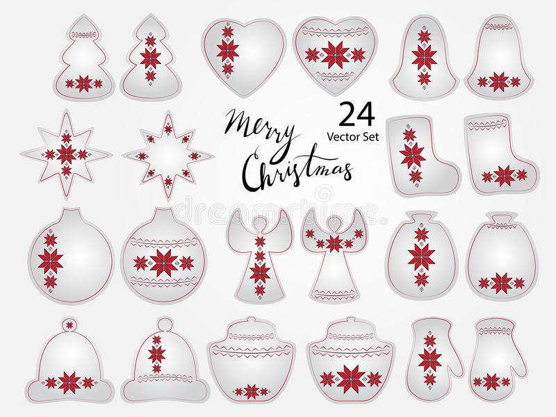 Christmas Elements with Ukrainian Embroidery. Vector set of 24 editable elements stilized with Ukrainian embroidery Christmas tree heart, bell, star, boot, ball vector illustration