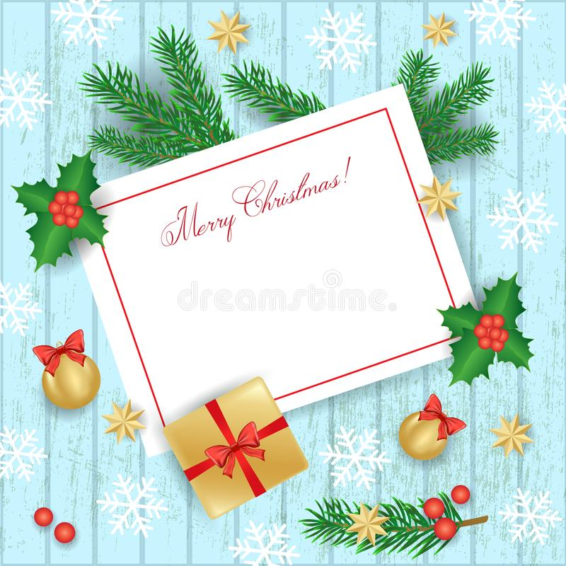 Christmas elements on wooden background. Space for text, vector illustration vector illustration