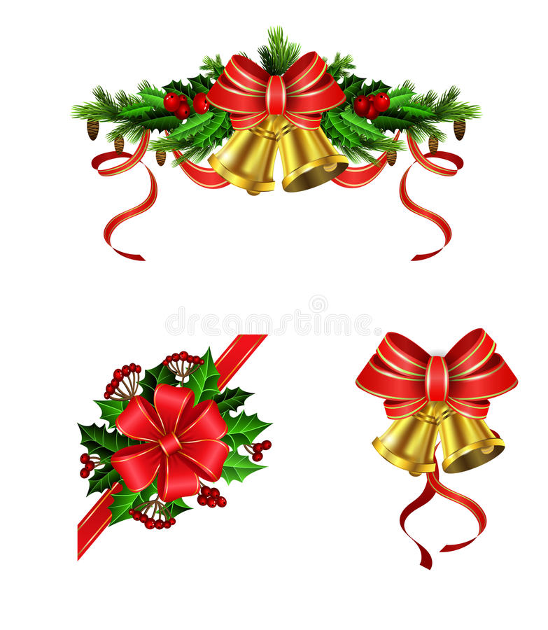 Christmas elements for your designs. Christmas decoration set with evergreen treess holly and pinecones and bow royalty free illustration