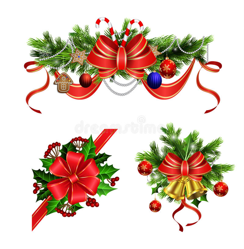 Christmas elements for your designs. Christmas decoration set with evergreen treess holly and pinecones and bow vector illustration