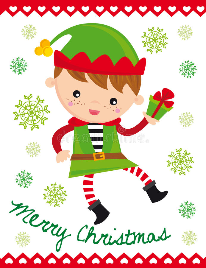 Christmas elf. Illustration of funny christmas elf with gift