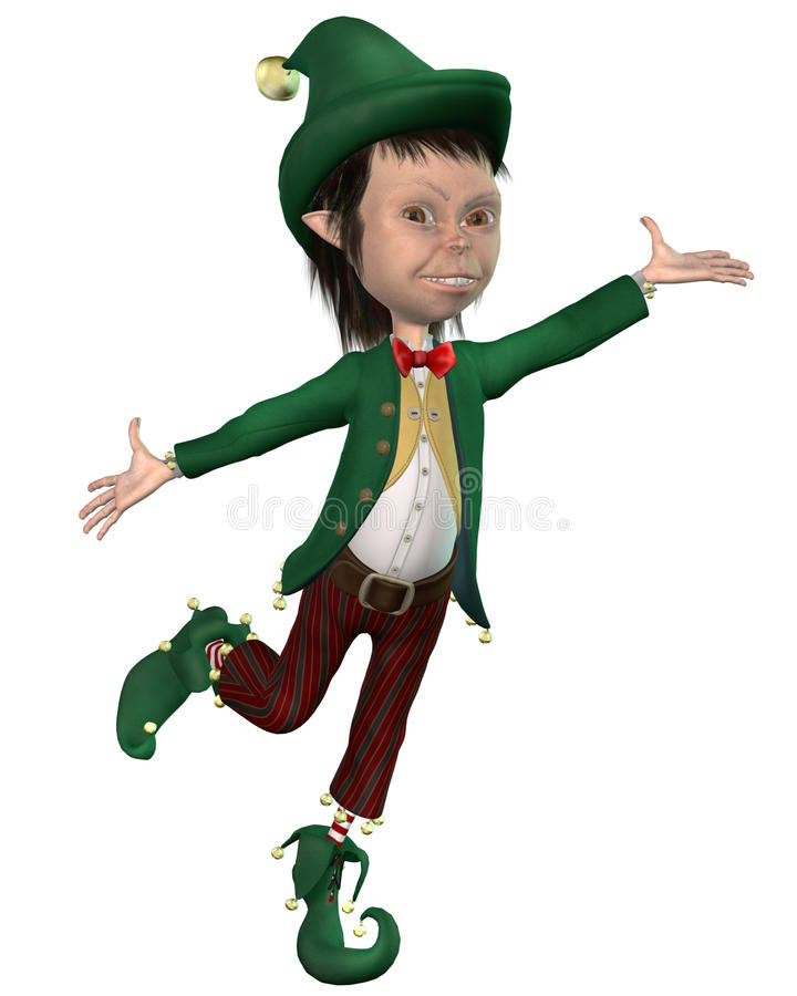 Christmas elf 2. 3D render of a dancing Christmas elf royalty free illustration