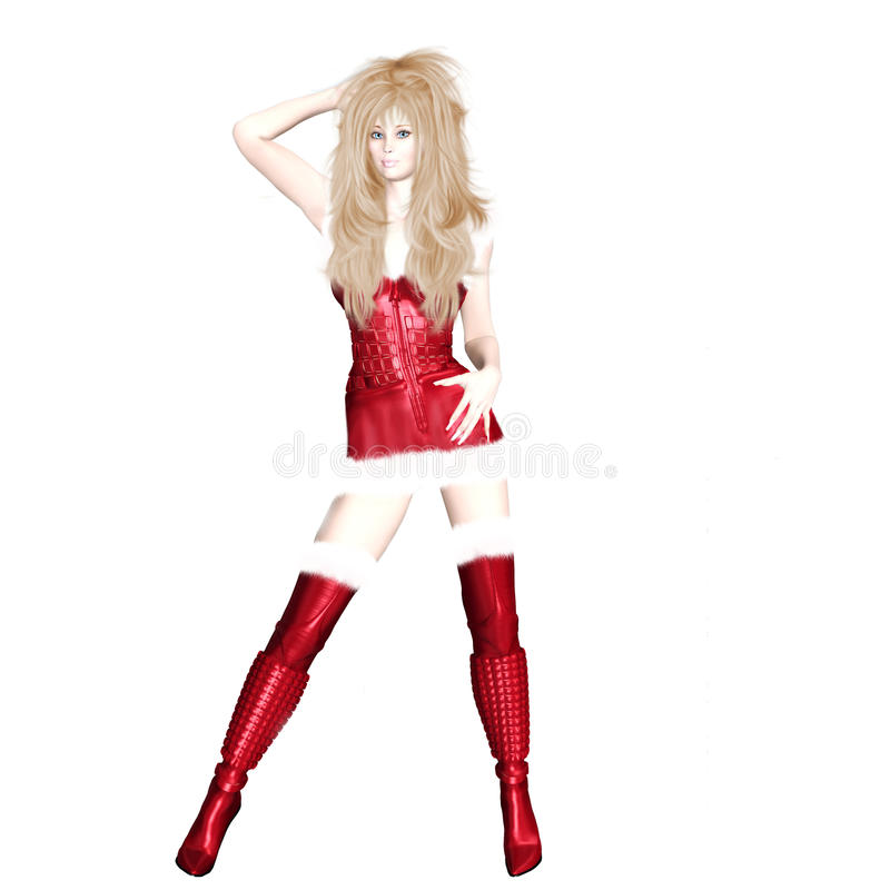 Christmas Elf Angelina. Christmas Pinup Elf Angelina - blonde Santa Girl royalty free illustration