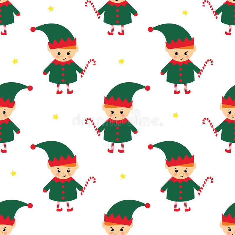 Christmas elf with candy cane seamless pattern on white background. royalty free illustration