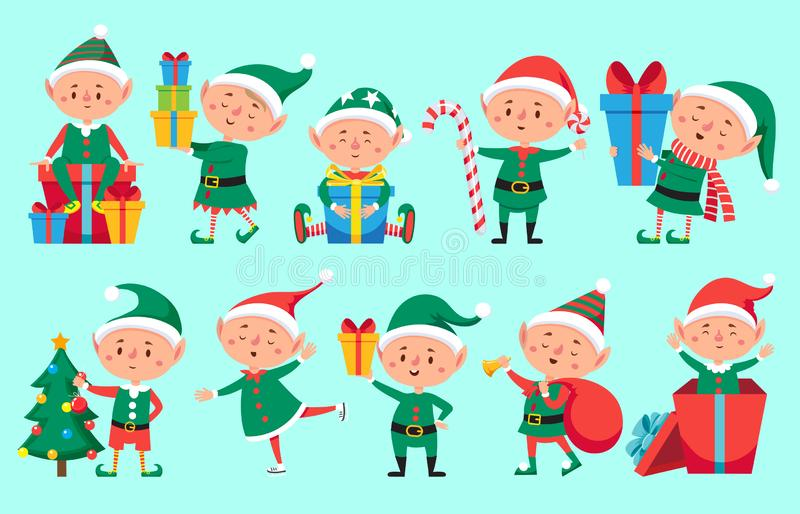 Christmas elf character. Cute Santa Claus helpers elves. Funny Xmas winter baby dwarf characters vector set. Christmas elf character. Cute Santa Claus helpers vector illustration