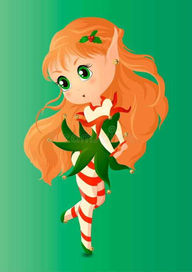 Christmas elf. Girl Chibi in a short green dress with bells and Holly in her hair royalty free illustration