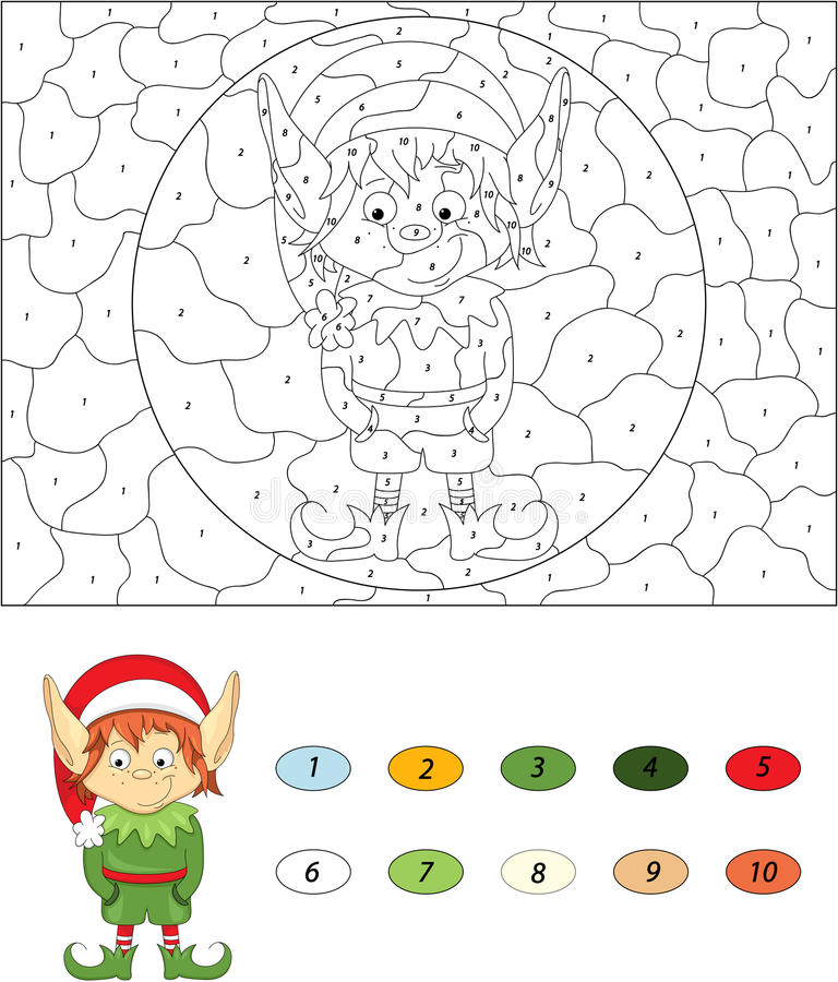 Christmas elf. Color by number educational game for kids vector illustration