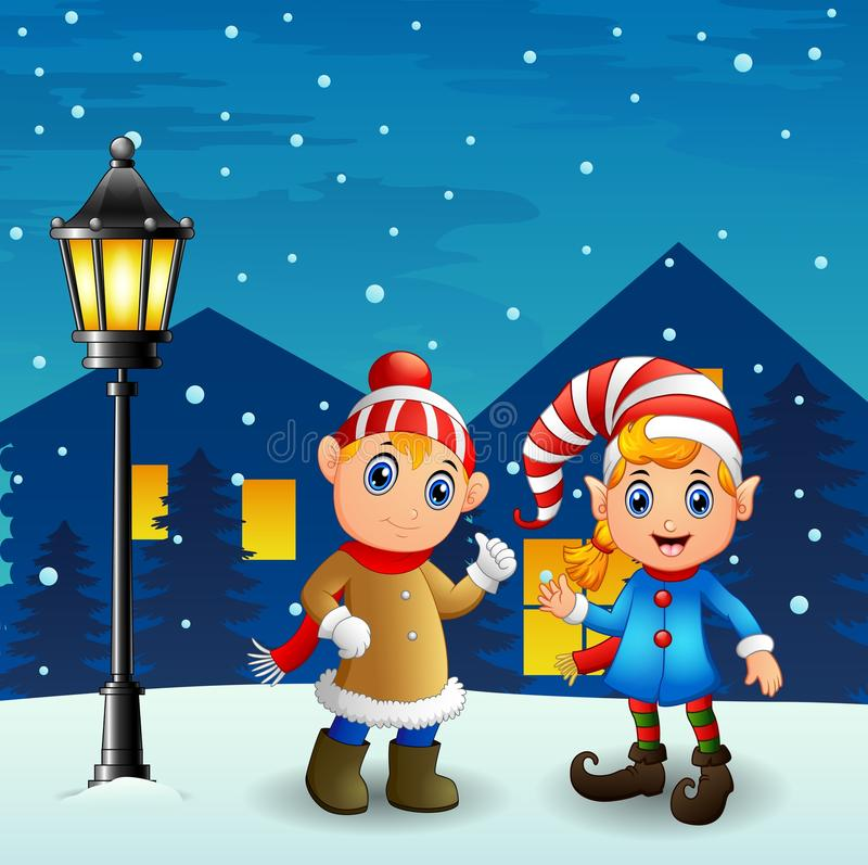Download Christmas Elf Couple With Snowfall Falling At Night Background Stock Vector - Illustration: 81630386