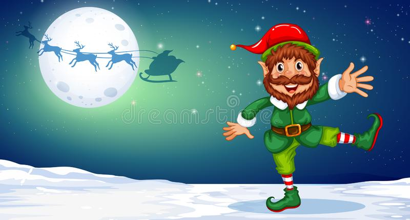 Christmas elf dancing in the snow royalty free illustration