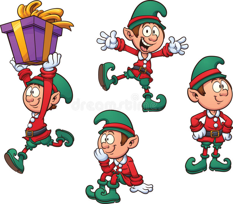 Christmas elf. In different positions. Vector clip art illustration with simple gradients. Each on a separate layer royalty free illustration