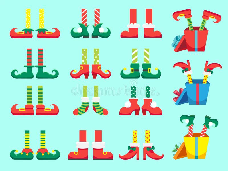 Christmas elf feet. Shoes for elves foot, Santa Claus helpers dwarf leg in pants. Xmas present and gifts isolated vector. Christmas elf feet. Shoes for elves stock illustration